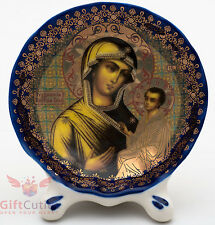 Porcelain gzhel decal plaque Icon Theotokos of Tikhvin Тихвинская Икона БМ