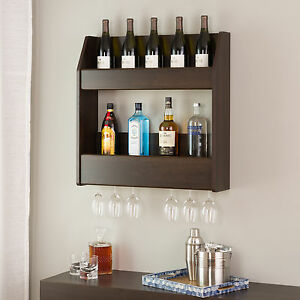 Wood Wall Wine Rack Mounted Floating Bottle Holder Glass