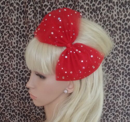 BIG RED SPARKLE BOW TULLE TUTU NET ALICE HAIR HEAD BAND 80s PARTY FANCY DRESS