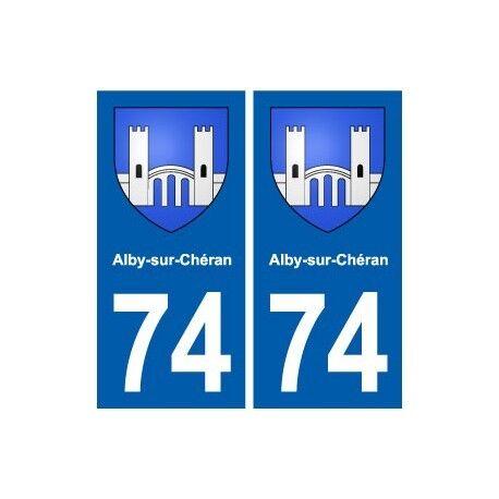 74 Alby-sur-Chéran blason autocollant plaque stickers ville -  Angles : droits