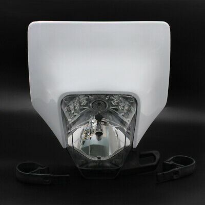 "White 11/"" x 10/"" Motorcycle Headlight Cover Headlamp Fairing For Husqvarna TX 125"