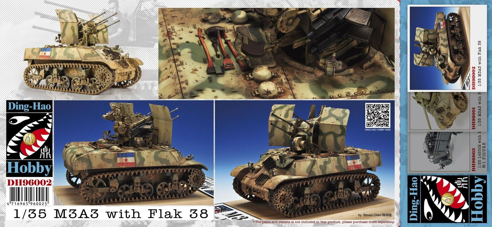 DING HAO HOBBY  KIT 1 35 CARRO ARMATO M3A3 WITH FLAK 38  ART 96002