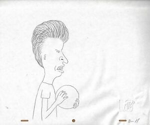 Beavis & Butt-head 1990's Production Cel Drawing Animation Art Bowling