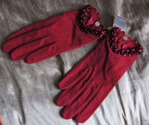 Georges Morand Red Kid Daim Poignet Gants Avec Ruban Volants Taille 7