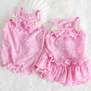 Girl-Puppy-Dog-Dress-Skirt-Vest-Pink-Small-Cat-Pet-Clothes-Apparel-Summer-Poodle