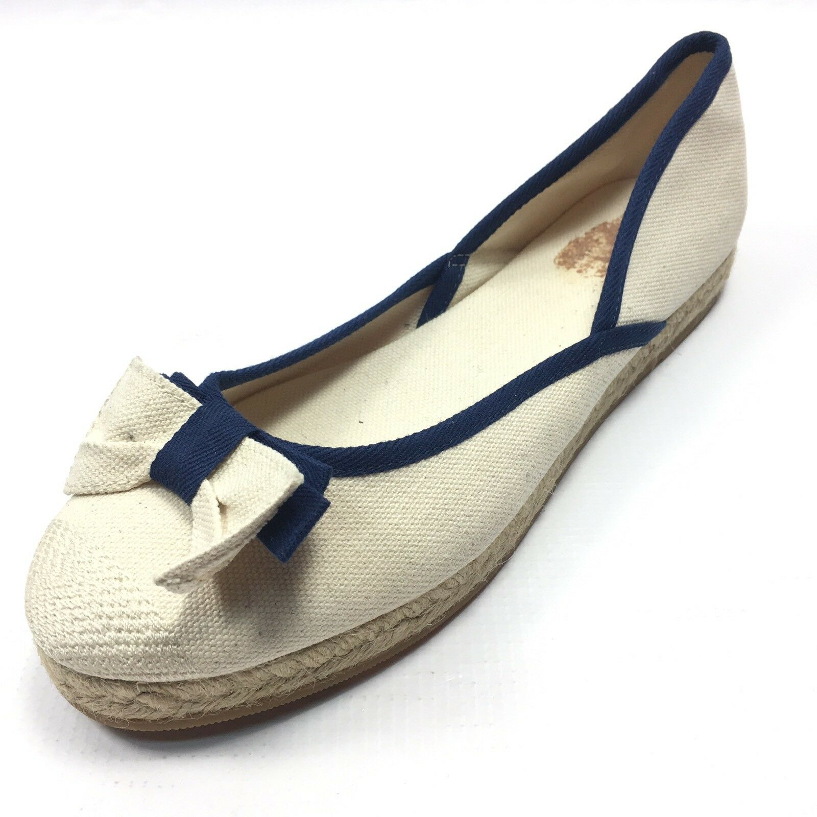 Valentino Red Ivory Navy Canvas Bow Espadrilles Flats Women's Size 40 39 M