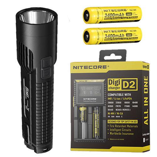 Nitecore EC4GT XPL Hi LED Flashlight 1000Lm w2x NL189 & D2 Charger