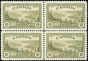 Canada-Mint-NH-VF-Scott-269-1946-Block-10c-Peace-Issue-Stamps