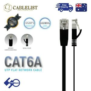 CAT6A-FLAT-Network-Cable-UTP-10Gbps-Ethernet-LAN-RJ45-Black-0-5m-1m-2m-3m-5m-10m