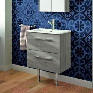 Details About Croydex Grey Wooden Bathroom Sink Vanity Unit Modern Furniture Storage Drawers