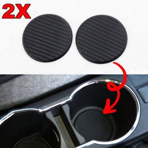2Pcs-Black-Car-Auto-Water-Cup-Slot-Non-Slip-Carbon-Fiber-Look-Mat-Accessories