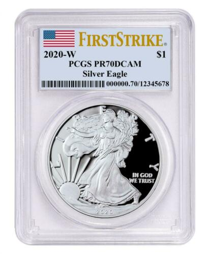 2020-W 1 oz Proof Silver American Eagle $1 Coin PCGS PR70 DCAM First Strike