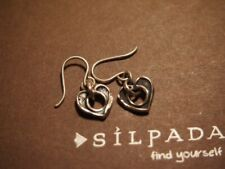 Silpada HTF Oxidized Sterling Silver Cutout Love Heart Dangle Earrings W1912