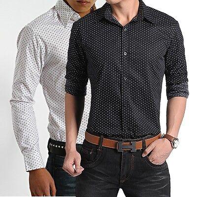 MT184 Mens Long Sleeve Polka Dot Luxury Casual Slim Fit Stylish Dress Shirts