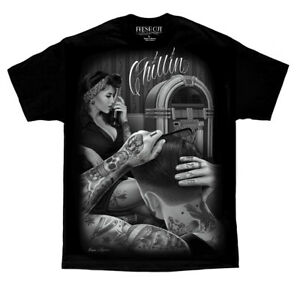 DGA-David-Gonzales-Art-Fresh-Cut-Chillin-Pinup-Greaser-Tattoo-Rockabilly-T-Shirt