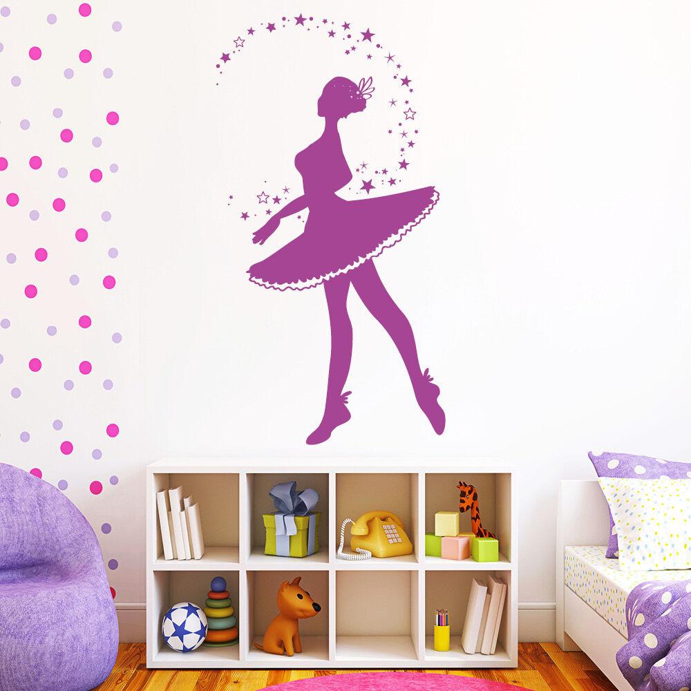 Wandtattoo Wandaufkleber Ballerina Sterne Tanzen Tanzen Tanzen Zauber Ballett 10545   Gutes Design  56b692