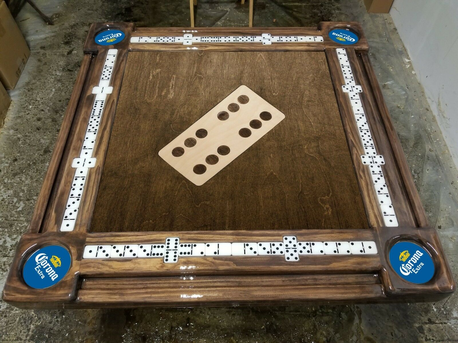 Inlay Center Domino with Corna Cup Holders Domino Table by Domino Tables by Art