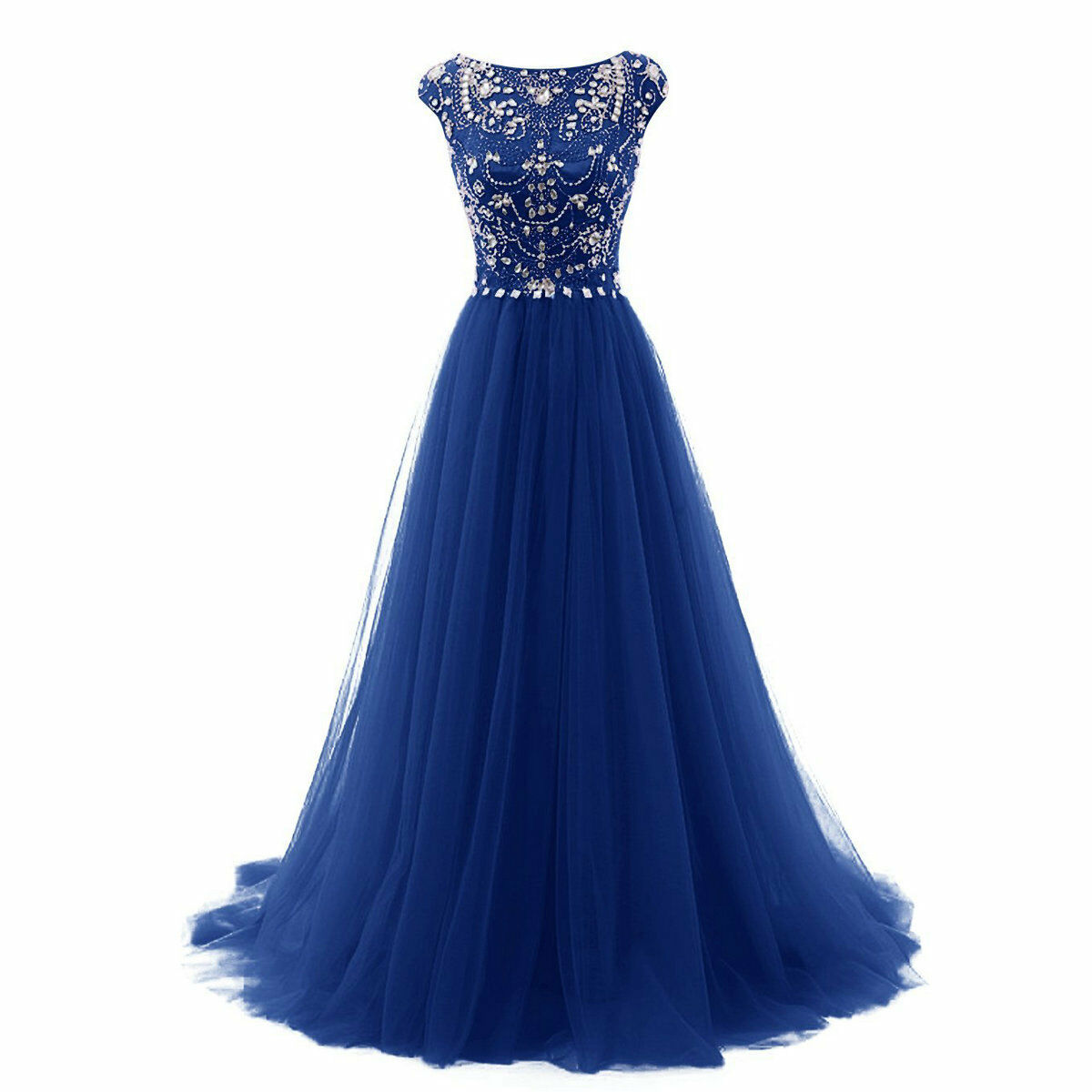 Cap Sleeve Long Evening Bridesmaid Prom Dresses Tulle ...