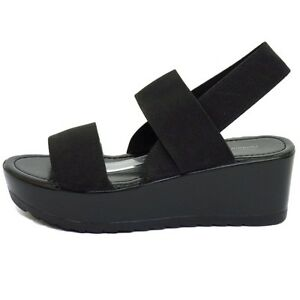 LADIES-BLACK-STRAPPY-ELASTIC-WEDGE-PLATFORM-PEEP-TOE-SANDALS-SHOES-SIZES-3-8