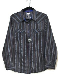 Wrangler-Rock-47-Womens-Western-Blue-Pearl-Snap-Long-Sleeve-Shirt-Size-Large-NWT