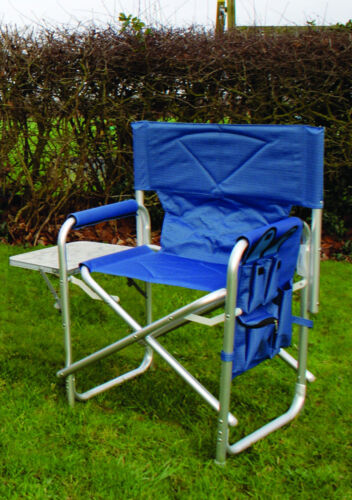 Blue Sturdy Portable Travel Camping Folding Directors Chair with Pockets /& Table
