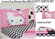 4pc Hello Kitty Polka Dots Full/Double SHEET SET Bed Bedding Sheets Black+White