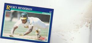 FREE-SHIPPING-MINT-1991-Score-10-Rickey-Henderson-Oakland-Athletics-Baseball-2