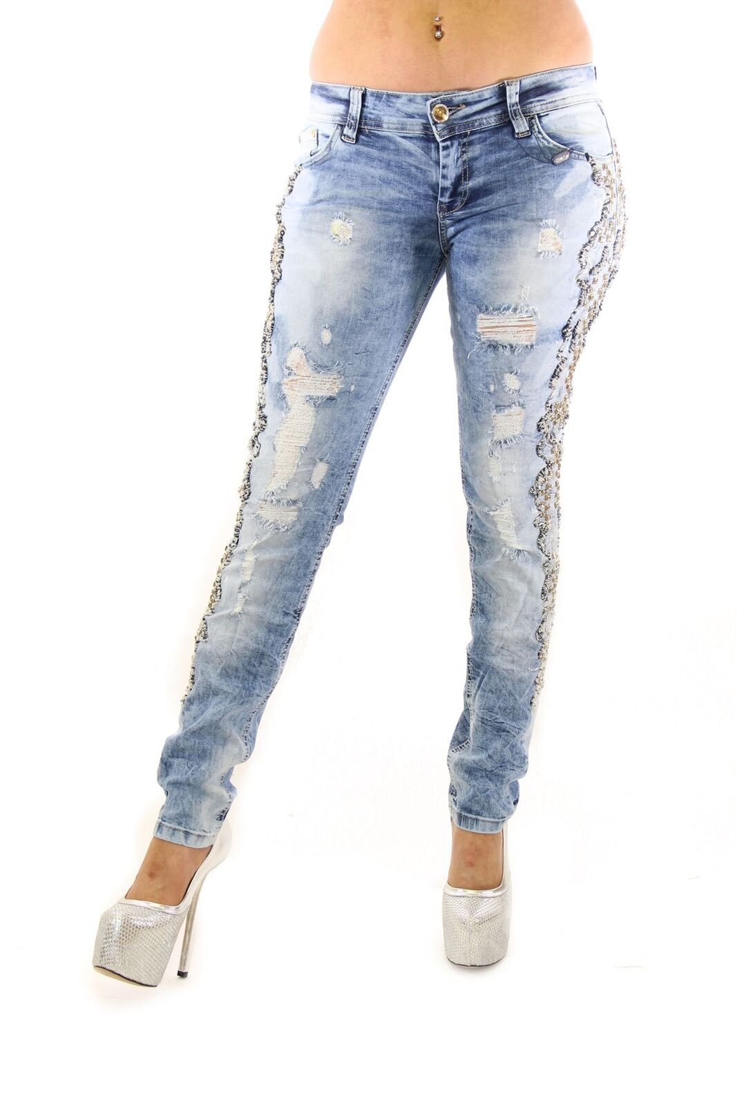 Distressed bluee And White Bead And Crystal Embellished Outer Seam Skinny Jeans