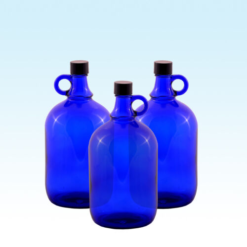 3 x Gallon 2 L//glasballon bouteille glasballon bouteille bleu//EAU VIN