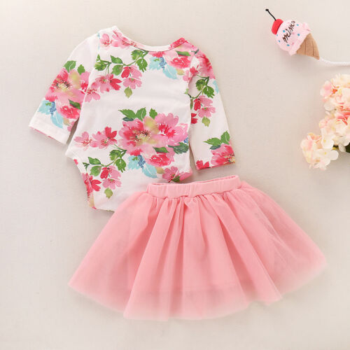 Baby Girl Floral One Year Clothes 1st Birthday Cake Smash Tutu Set Costume Dress