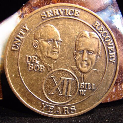 12 Year Alcoholics Anonymous AA Bronze Medallion Coin Token Chip Sobriety Sober