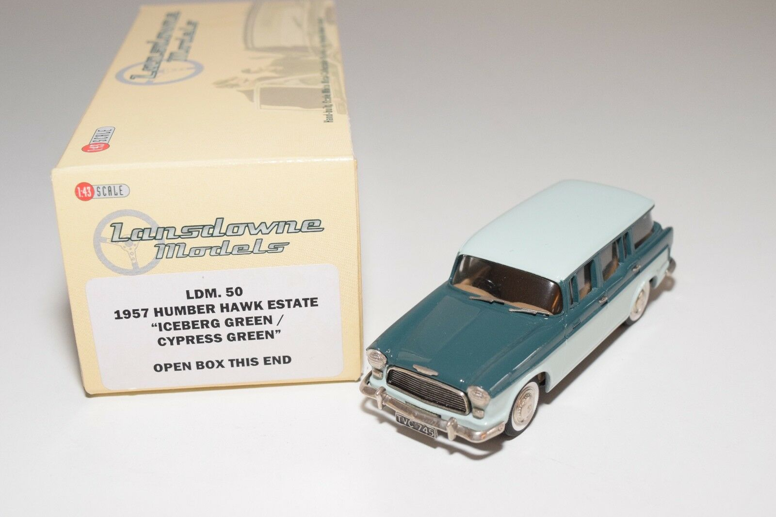 LANDSOWNE modelllllerLER LDM 50 1957 HUMBER HAWK ESTADE TVÅ TONE grön MINT lådaED