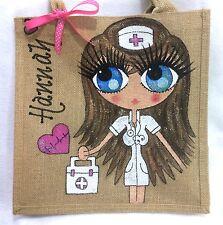 Personalised Handpainted Nurse Jute Celebrity Style Handbag Hand Bag Gift
