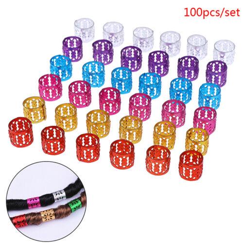 100x DIY Dreadlock Beads Adjustable Hair Braid Rings Cuff Clips Wholesale Kid C3