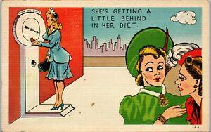 Dieting-Behind-Gossip-Rear-end-1940-039-s-Era-Humor-Vintage-Postcard