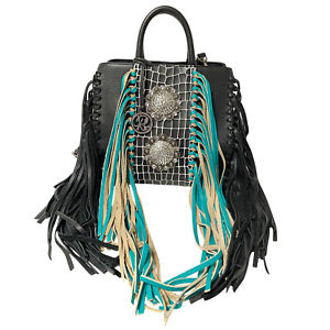 Raviani-New-Fringe-Satchel-in-Black-Pebble-amp-Turquoise-Leather-W-Crystal-Concho