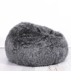 Incredible Details About Charcoal Grey Fur Beanbag Cover Soft Bedroom Luxury Bean Bag Lounge Movie Chair Andrewgaddart Wooden Chair Designs For Living Room Andrewgaddartcom