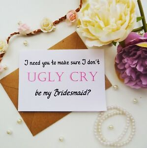 Funny Will You Be My Bridesmaid Proposal Card Maid Of Honour Gift