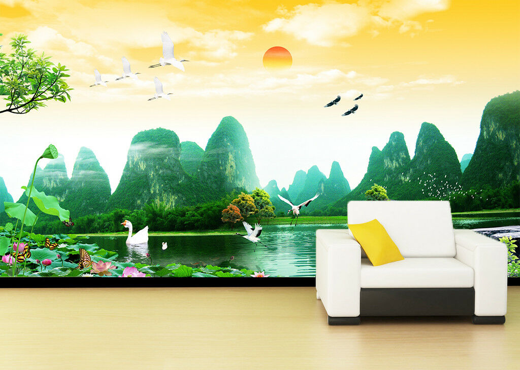 3D Sonne Berge Flüsse 53 Tapete Tapeten Mauer Foto Familie Tapete Wandgemälde DE
