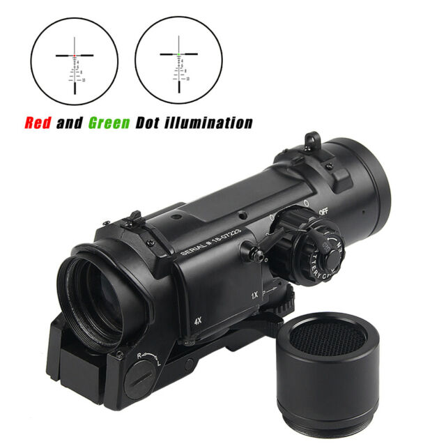 Tactical Rifle Scope 1x-4x Fixed Dual Purpose illuminated Red Green Dot Sight