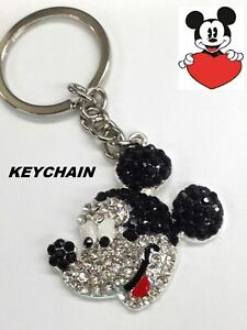 Disney Mickey Mouse Ears Keychain Silver Handbag Purse Charm Zipper Pull Lobster