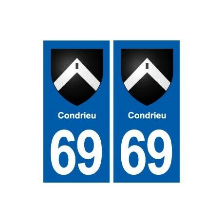 69 Condrieu blason autocollant plaque stickers ville -  Angles : droits
