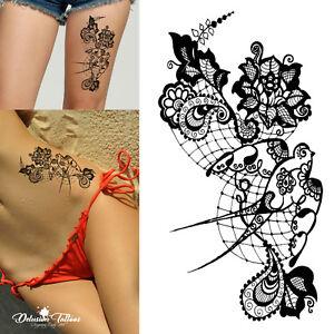 Black Henna Temporary Tattoo Lace Swallow Flowers Mehndi Arabic