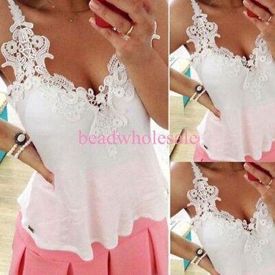 Women Lace Stitching Sleeveless Strap Chiffon T-Shirt Loose Casual Blouse Top