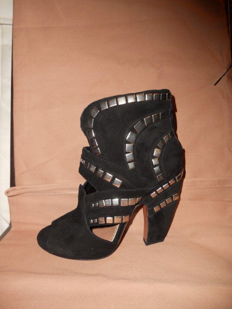 Azzedine Alaia Negro Gamuza Con Tachas recorte recorte recorte puntera abierta en el tobillo Botines botas Zapatos 36  para proporcionarle una compra en línea agradable