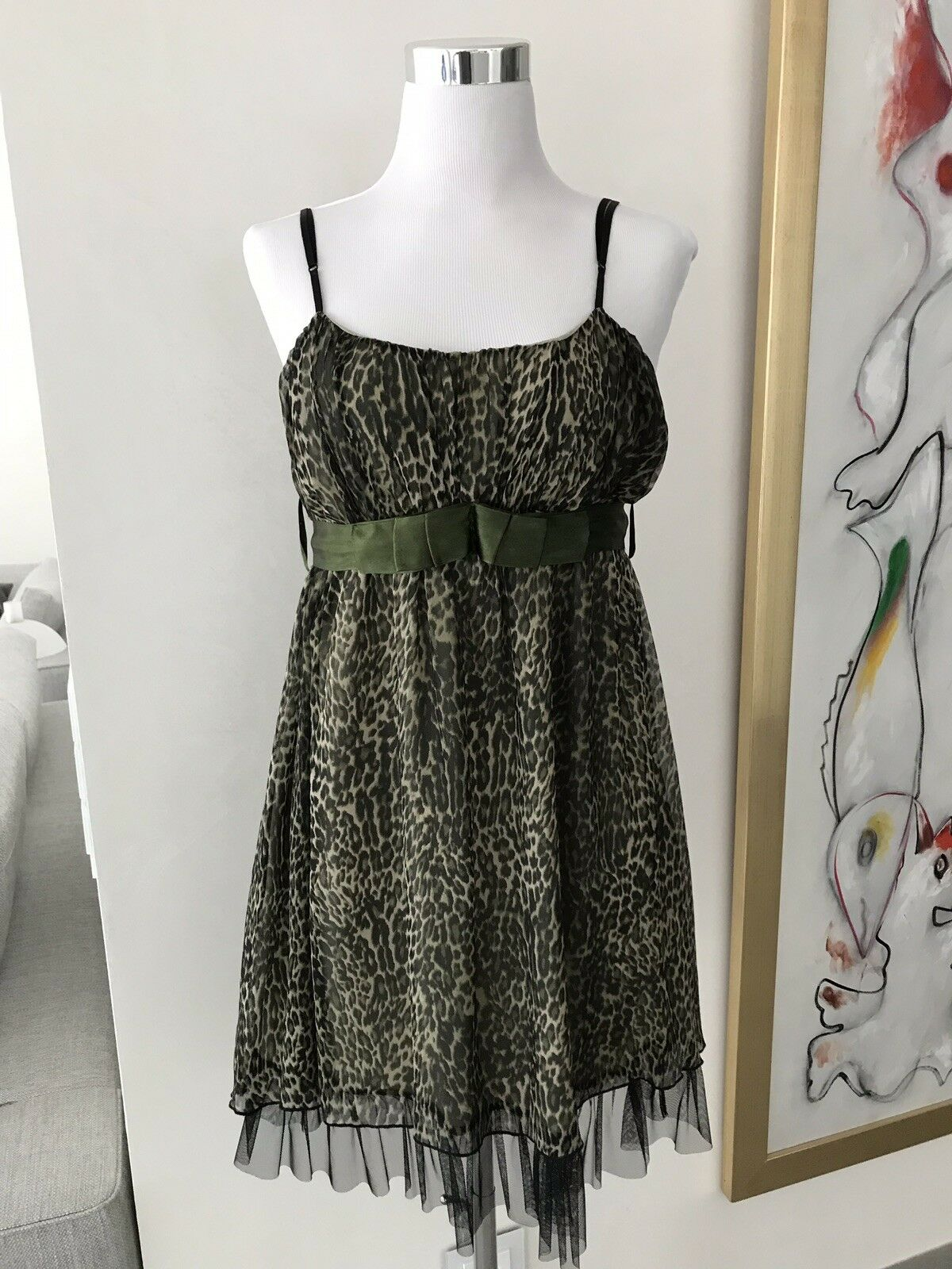 CHLOÉ Seidenkleid Kleid 2 lagig Leopard deutsche Gr. 40 eher 38