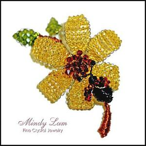 Yellow flower wth bug in swarovski crystals pin by mindy lam ebay image is loading yellow flower wth bug in swarovski crystals pin mightylinksfo