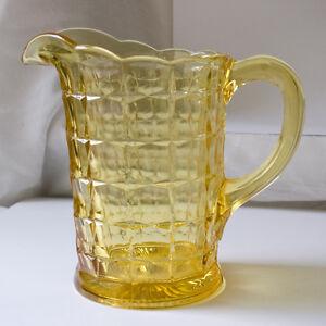 Tiara-Yellow-Mist-Constellation-64-oz-Pitcher-by-Indiana-Glass
