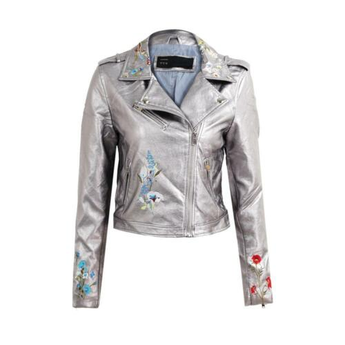 Womens Floral Embroidery PU Leather Motorcycle Outerwear Casual Coat Jacket X4X1