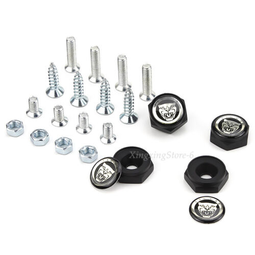 4Pcs//set New Anti-theft Car License Plate Bolts Frame Screw Caps Logo for Jaguar